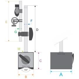 BASE MAGNETICA PARA RELOGIOS COM AJUSTE FINO HASTE 176 X 150MM FORCA 60KGF - 6201-60 INSIZE