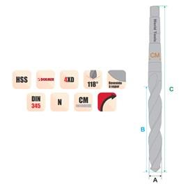 BROCA HSS COM HASTE CONICA CM1 Ø 02,00 X 105MM REVENIDA A VAPOR DIN 345 - A130 DORMER
