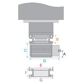 CABECOTE 90 GRAUS DE ANGULO RETO PARA CNC BT40 - AR-40-CNC HIDALGO