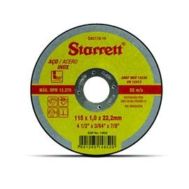 DISCO ABRASIVO DE CORTE 115 X 1,0 X 22,23MM PARA 13.300RPM - DAC115-14 STARRETT